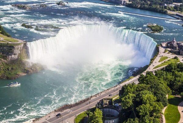 birds-eye view of the Niagara waterfalls